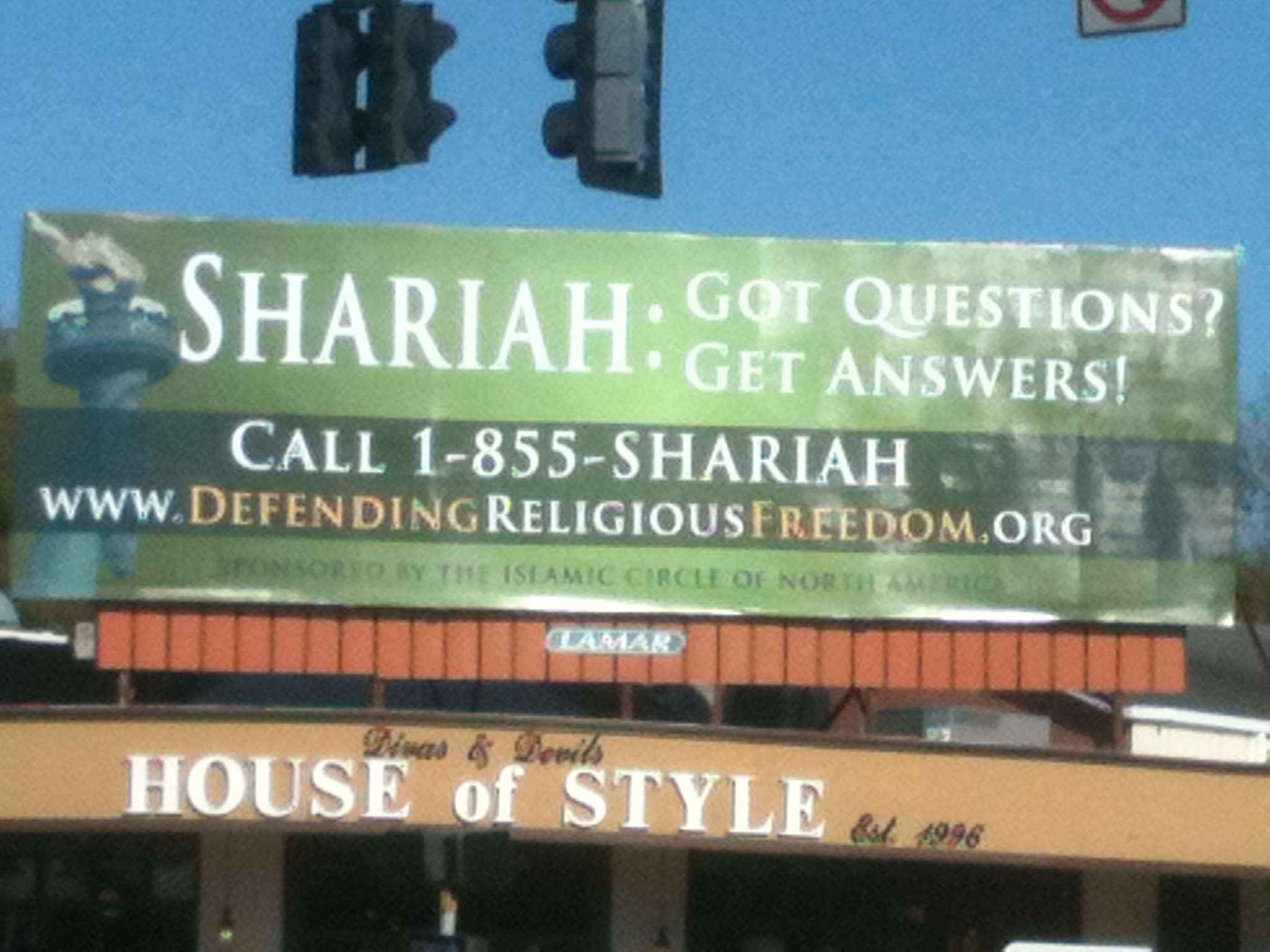 ICNA billboard in Tallahassee, Florida